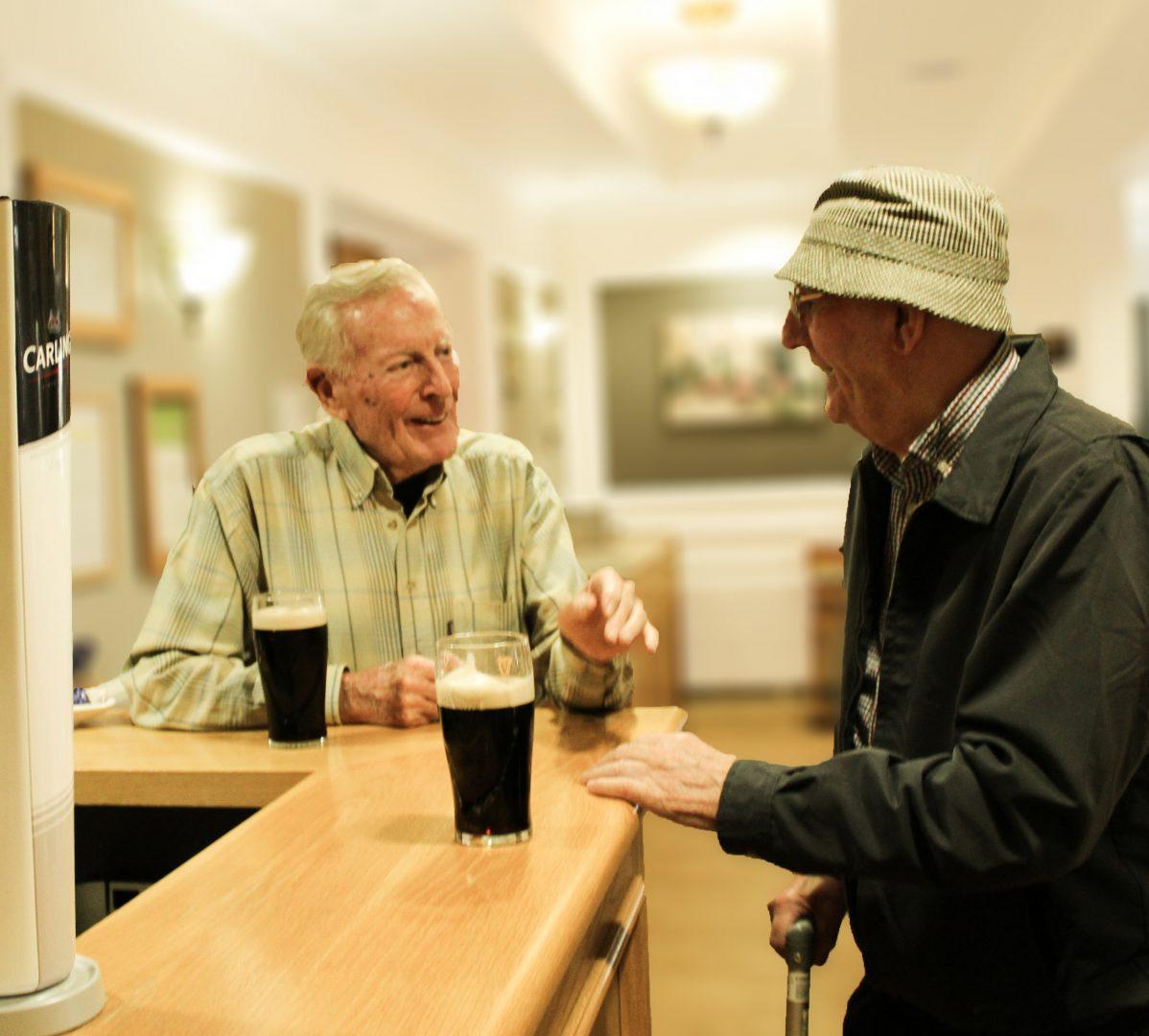 Enjoying a pint at the bar